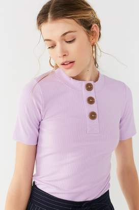 Urban Outfitters Rina Ribbed Knit Button-Down Tee