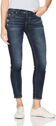 Silver Jeans Co. Women's Avery Curvy Fit High Rise Ankle Skinny Jeans