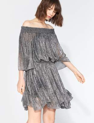 Halston Off Shoulder Smocked Dress
