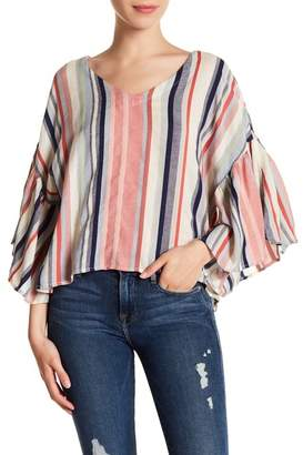 Susina Stripe Flutter Sleeve Blouse (Regular & Petite)