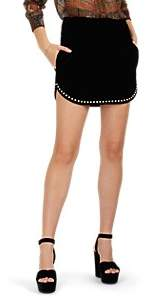 Saint Laurent Women's Studded Cotton Velvet Miniskirt - Black