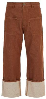 Loewe - Patch Pocket Turn Up Jeans - Mens - Brown