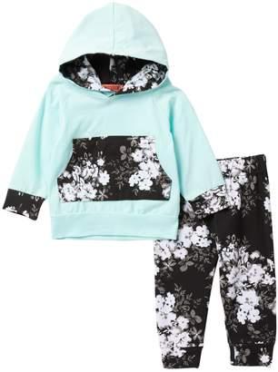Funkyberry Mint Black Floral Hoodie Set (Baby Girls)