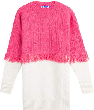 Sjyp Wool Pullover with Fringed Trim