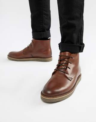 Dune Lace Up Boots With Pebble Grain In Brown
