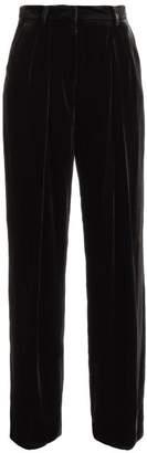 Fendi Wide Leg Velvet Trousers - Womens - Black