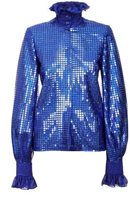 JIRI KALFAR - Royal Blue Sequin Shirt