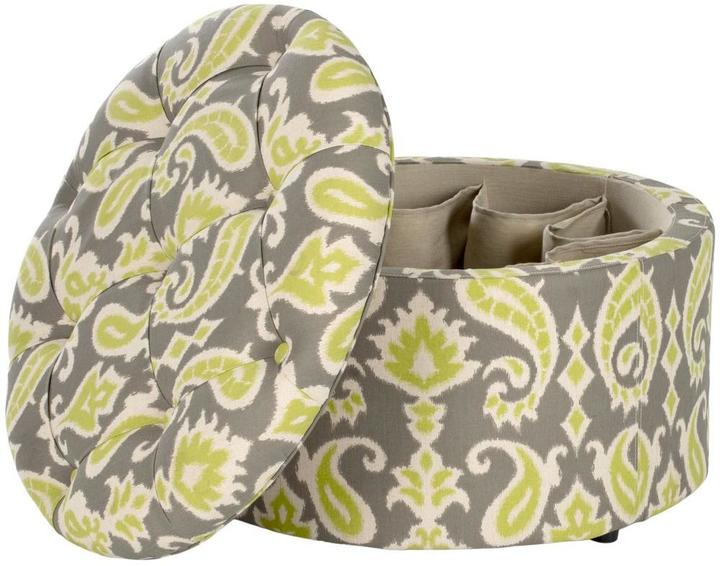 Safavieh Tanisha Ikat Grass Green/Grey Linen/Polyester Shoe Ottoman