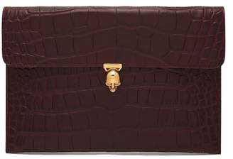 Alexander McQueen Skull Crocodile Effect Leather Envelope Clutch - Womens - Burgundy