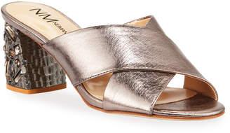 Neiman Marcus Leather Jeweled-Heel Mule Sandals Taupe