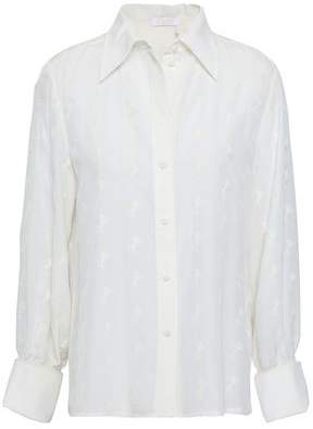 Chloé Embroidered Silk Crepe De Chine Shirt