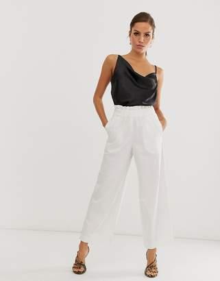Asos Design DESIGN wide leg lightweight jean with gathered waist detail in off white