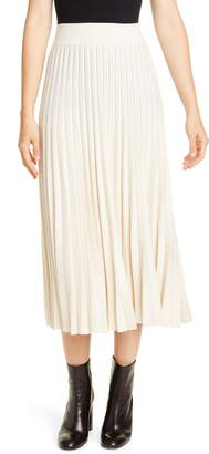 Polo Ralph Lauren Sunburst Pleat Wool Midi Skirt