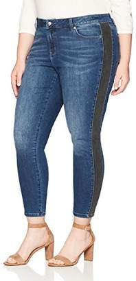 Denim Crush Women's Contrast Tuxedo Stripe Skinny Jean Plus Size