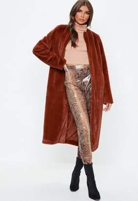 Missguided Rust Collarless Longline Faux Fur Coat