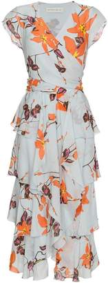 Etro floral print ruffled silk dress