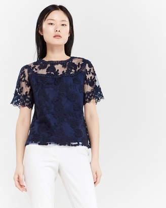 Laundry by Shelli Segal Embroidered Mesh Lace Blouse