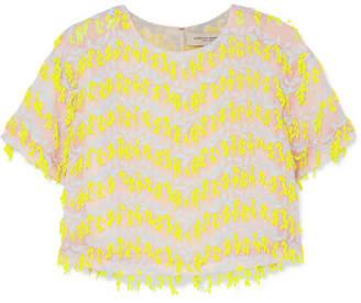 Carolina Herrera Cropped Embroidered Organza Top - Yellow