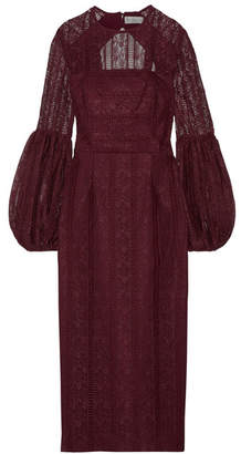 Rebecca Vallance Lou Lou Open-back Lace Midi Dress - Burgundy