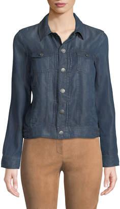 Tahari Denim Pintucked Chambray Jacket