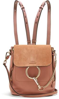 Chloé Faye small suede-panel leather backpack