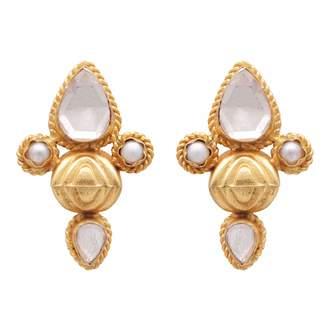 Carousel Jewels - Crystal Quartz & Pearl Studs