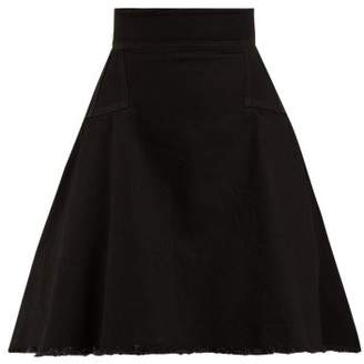 Alexander McQueen Washed Japanese Denim A Line Mini Skirt - Womens - Black