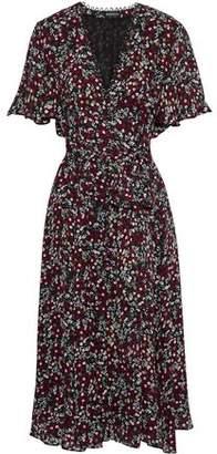 Nicholas Mini Daisy Belted Floral-print Silk Midi Dress