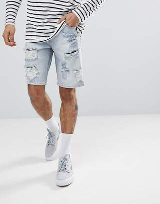 Asos DESIGN Denim Shorts In Slim light Wash With Heavy Rips