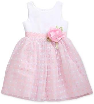 Sweet Heart Rose Toddler Girls Glitter-Dot Mesh Dress