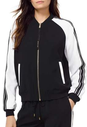 MICHAEL Michael Kors MICHAEL Striped Sleeve Bomber Jacket