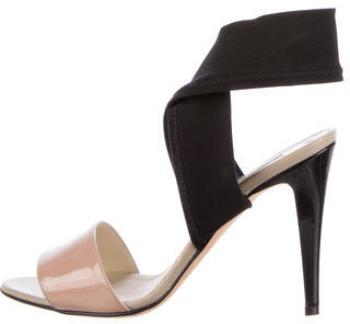 Brian Atwood Patent Leather Bicolor Sandals $145 thestylecure.com