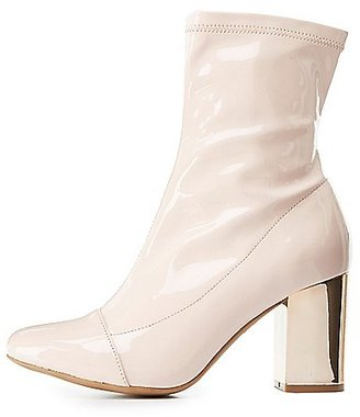 Cap Toe Metallic Heel Booties $40.99 thestylecure.com