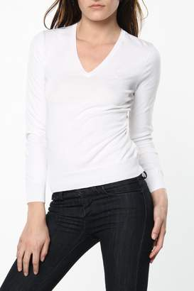 Ralph Lauren WoMen's White V-neck Sweater in Small