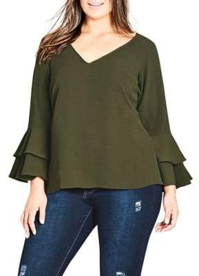 City Chic Plus Double Frill-Sleeve Top