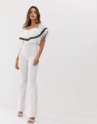 d4a9f39c34f Bardot Forever U jumpsuit with crochet lace trim