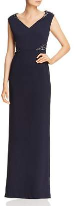 Adrianna Papell Embellished Crepe Cap-Sleeve Gown