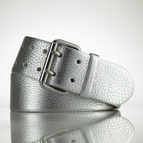 Ralph Lauren Black Label Metallic Contour Leather Belt