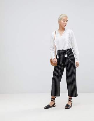 New Look Wide Pinstripe Tie Waist Crop Trousers
