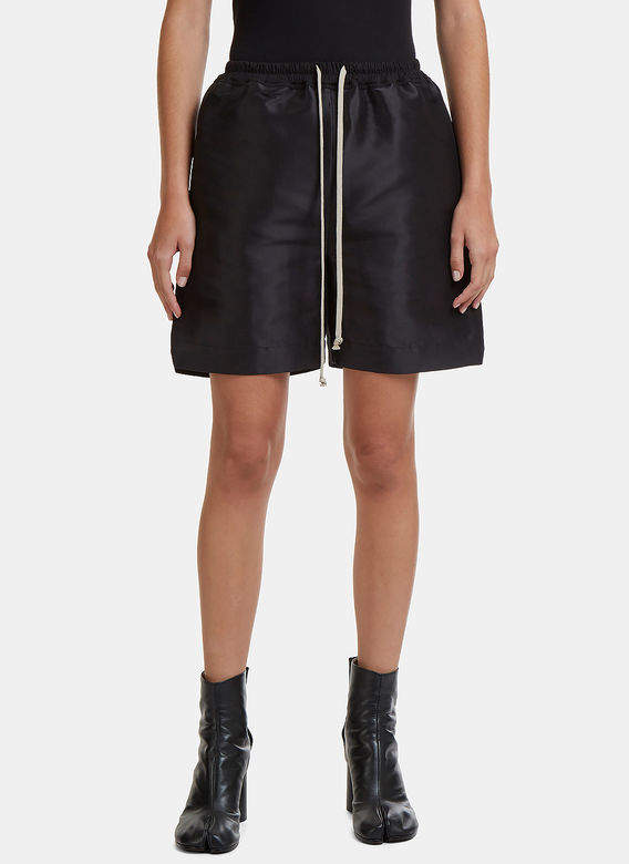 Structured Drawstring Shorts in Black