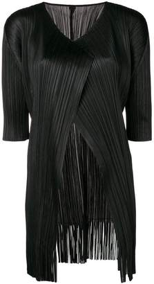 Pleats Please Issey Miyake short-sleeve pleated cardigan