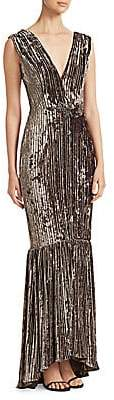David Meister Women's Pleated Velvet Mermaid Gown