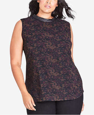 City Chic Trendy Plus Size Printed Top with Faux-Leather Trim
