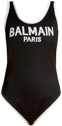 Logo-knit scoop-neck body