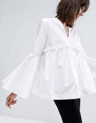 ASOS White ASOS WHITE Ruffle Yoke Bell Sleeve Top $76 thestylecure.com