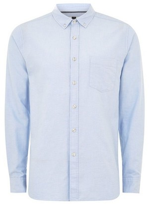 Topman Mens White Blue Rigid Long Sleeve Oxford Shirt
