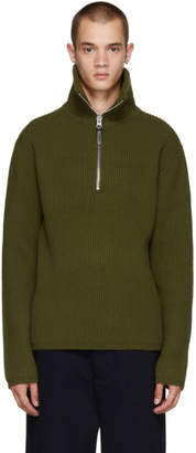 Acne Studios Green Fisherman Zip Sweater