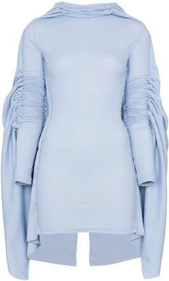 Y/Project Y / Project high neck draped long sleeve stretch cotton mini dress