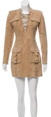 Balmain Suede Mini Dress w/ Tags