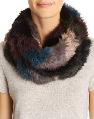 Jocelyn Color-Block Knit Rabbit Fur Infinity Scarf